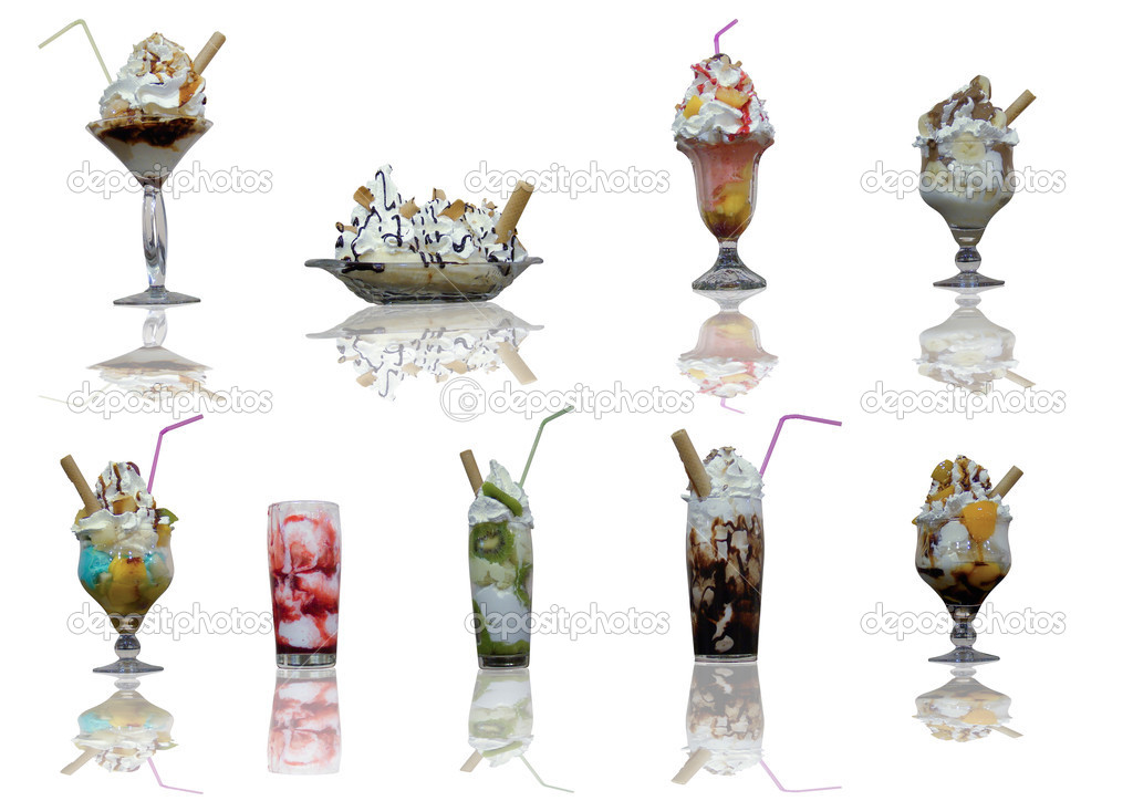 Assorted ice cream cups with reflection on with background  Stock Photo #2490684