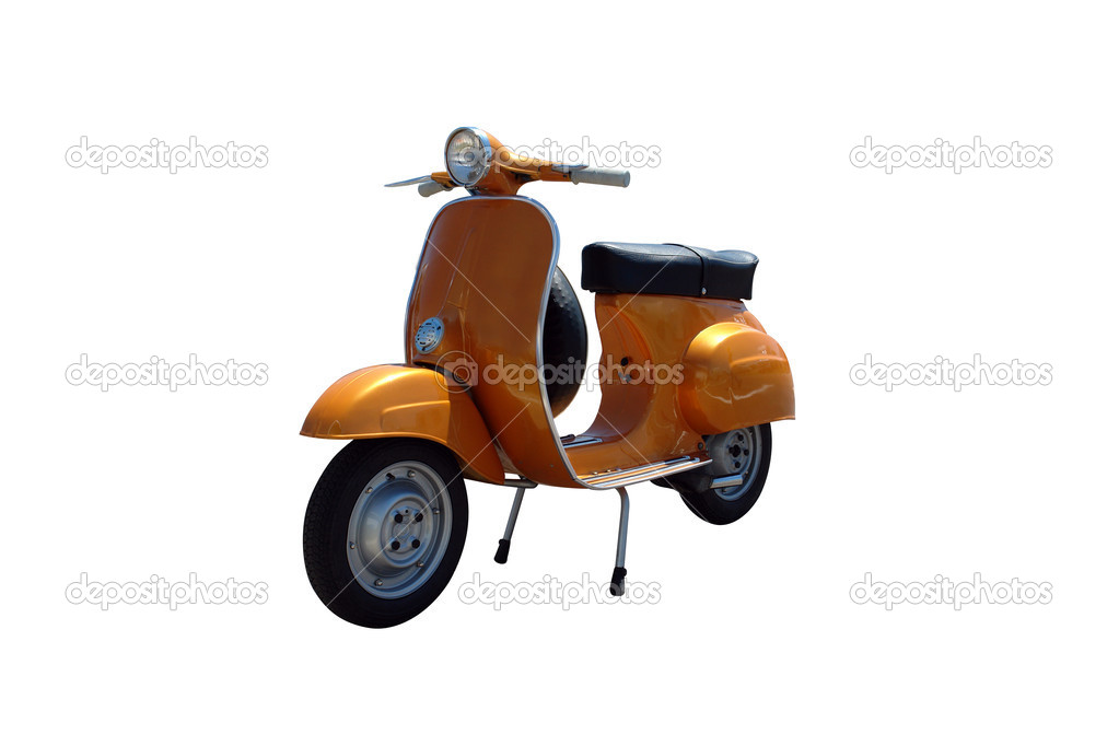 Vintage orange scooter. Vector path is included on file. — Stock Photo #2490791