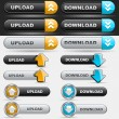 Upload and Download Button Set — 图库矢量图片