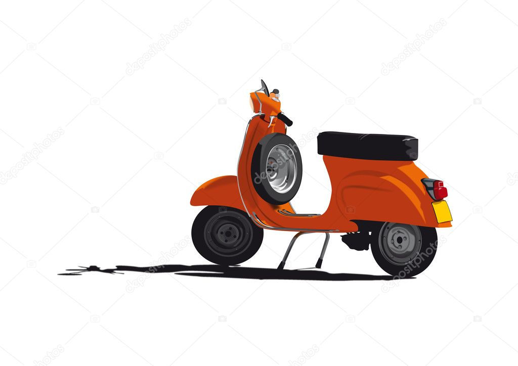 Vector Illustration of vintage orange scooter — Stock Vector #2490314