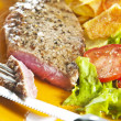 Stock Photo: Steak and chips
