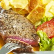 Steak and chips - Stock Photo