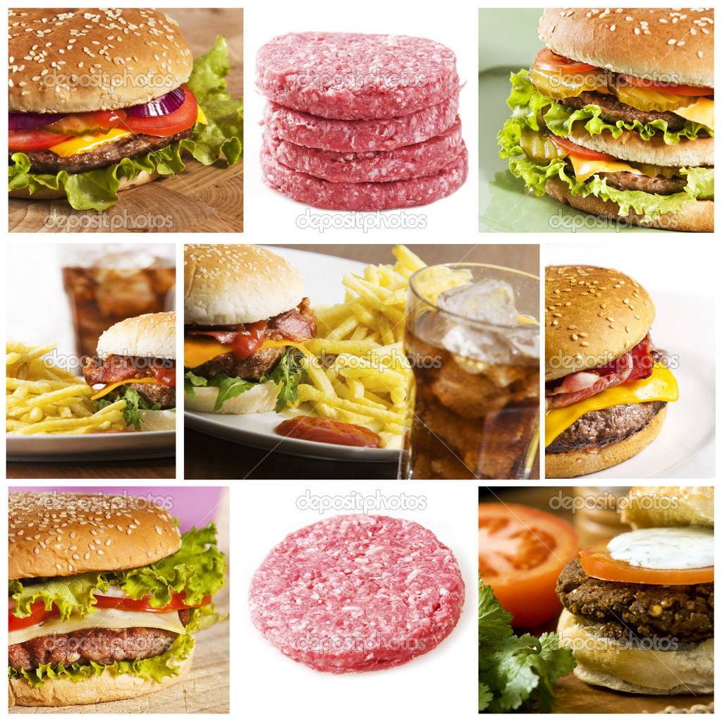 Fastfood collage with lots of hamburgers  Stock Photo #2338494