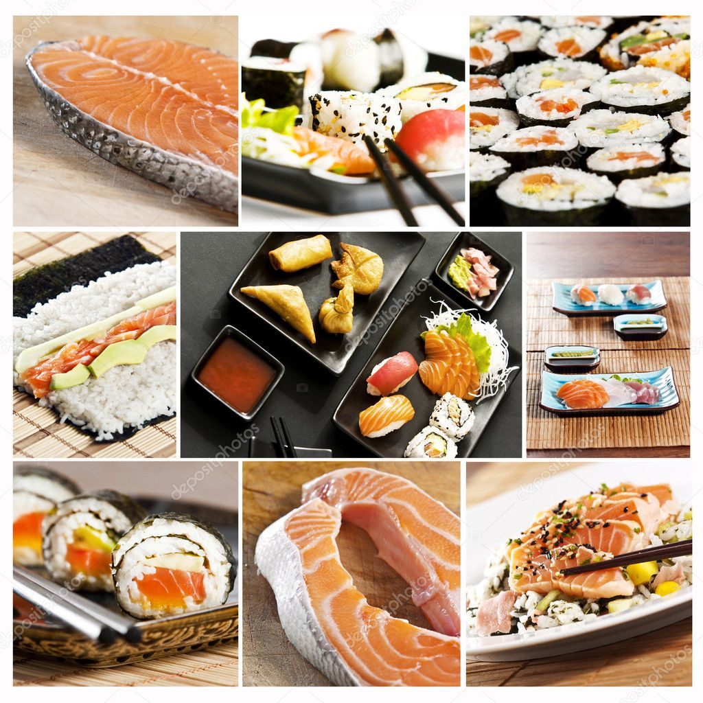 Collage various types of japanese sushi and sashimi  Stock Photo #2338560