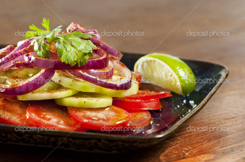 Laccha salad with onion tomato and cucumber — Stock Photo #2339018