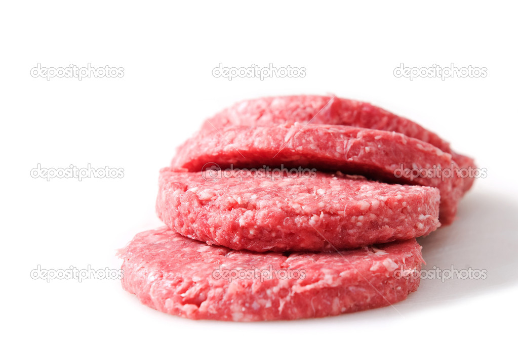 Raw hamburger isolated on white background — Stock Photo #2339563