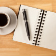 Blank Spiral Note Pad, Cup of Coffee and — Stock Photo #2284495
