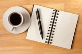 Blank Spiral Note Pad, Cup of Coffee and — Stock Photo