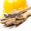 Yellow Hard Hat, Gloves and Hammer — Stock Photo
