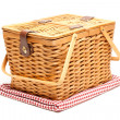 Picnic Basket and Folded Blanket Isolate - Stock Photo