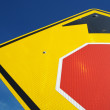 Stop Ahead Sign Abstract on a Blue Sky — Stock Photo