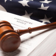 Gavel, American Flag, Foreclosure Notice - Foto de Stock  