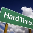 图库照片: Hard Times Green Road Sign