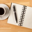Blank Spiral Note Pad, Coffee and Pen — Stock Photo