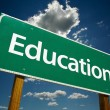 Education Road Sign Over Blue Sky — Stock Photo