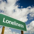 Stock Photo: Loneliness Green Road Sign