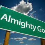 Постер, плакат: Almighty God Road Sign Over Blue Sky