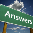 Stock Photo: Answers Green Road Sign