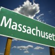 Massachusetts Green Road Sign - Stock Photo