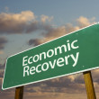 Economic Recovery Green Road Sign — Stock Photo