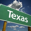 Texas Road Sign Over Sky and Clouds - Stock Photo