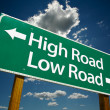 High Road, Low Road - Road Sign - Stock Photo