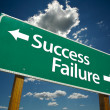 Stock Photo: Success and Failure Road Sign Over Sky