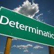 Stock Photo: Determination Road Sign with dramatic cl