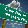 Easy Way, Hard Way Green Road Sign — Stock Photo