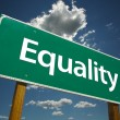 Equality Green Road Sign — Stock Photo