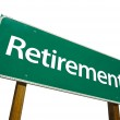 Retirement Green Road Sign On White — Stock Photo