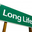 Long Life Green Road Sign On White — Stock Photo