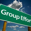 Stock Photo: Group Effort Green Road Sign