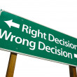 Stock Photo: Right Decision, Wrong Decision Green Sig