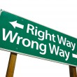 Right Way, Wrong Way Green Road Sign — Foto de Stock