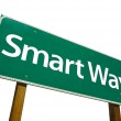 Smart Way Green Road Sign On White — Stock Photo