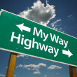 My Way, Highway Road Sign Over Clouds — Stock Photo