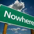 Nowhere Green Road Sign — Stock Photo