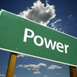 Power Green Road Sign — Stock Photo