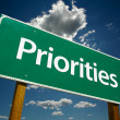 Stock Photo: Priorities Green Road Sign
