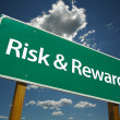 Risk and Reward Green Road Sign — Stock Photo