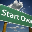 Stock Photo: Start Over Green Road Sign