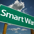 Smart Way Green Road Sign - Stock Photo