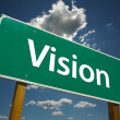 Vision Green Road Sign - Stock Photo