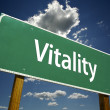 Vitality Green Road Sign - Stock Photo