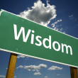 Wisdom Green Road Sign — Stock Photo