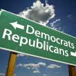 Democrats and Republicans Road Sign - Zdjcie stockowe
