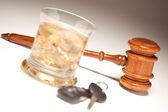Gavel, Alcoholic Drink and Car Keys — Stock Photo