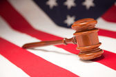 Gavel Resting on an American Flag — Stock Photo