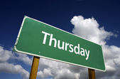 Thursday Green Road Sign on Clouds — Stock Photo